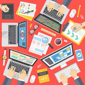 Programmers web developers designers at work Working process web development programming teamwork concept Top view Flat design vector illustration