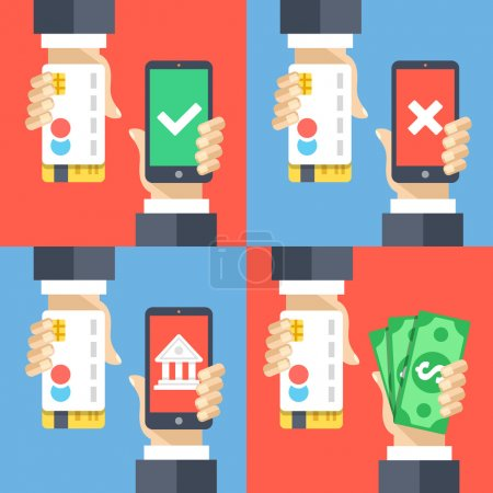 Hands holding credit cards, smartphones and money. Mobile payment, mobile banking, cashback concepts. Modern flat design vector illustrations set
