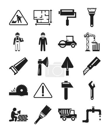 Stock vector construction pictogram simple black icon set