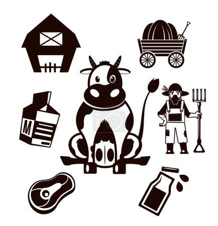 Stock vector farm cow pictogram illustration simple black icon set