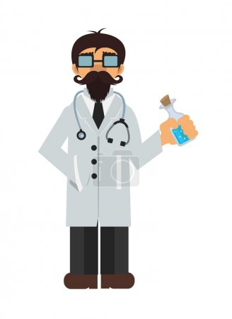Vector cartoon doctor flat icon
