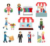 Vector shopping and shipping flat icons set