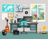 Workplace in room Vector flat illustration