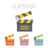Vector clapboard icons Modern creative colorful graphic design flat style illustrations elements symbols and concepts for web and mobile apps Different color schemes Isolated on white background