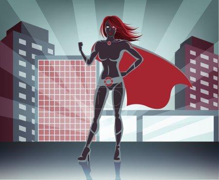 Vector super woman illustration
