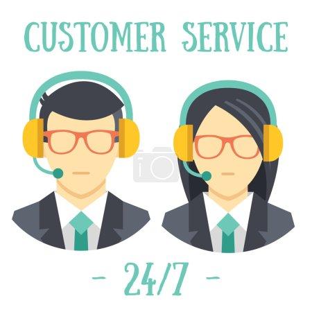 Illustration pour Hommes et femmes avec écouteurs. Centre d'appels icônes avatar. Concept de service client. Isolé sur fond blanc . - image libre de droit