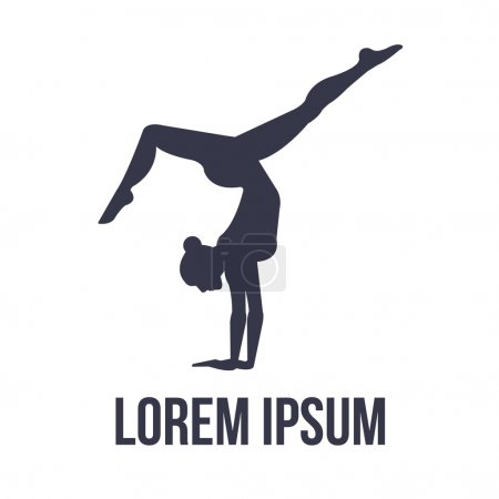 Acrobatic gymnastics logo with woman silhouette. V...
