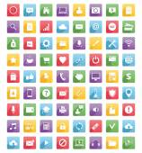 Universal web icons and mobile icons Flat style long shadow design Blue green yellow red and purple colors Isolated on white background