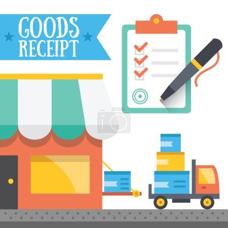 Illustration pour Concept de réception des marchandises. Illustration vectorielle - image libre de droit