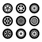 Car wheels icons set
