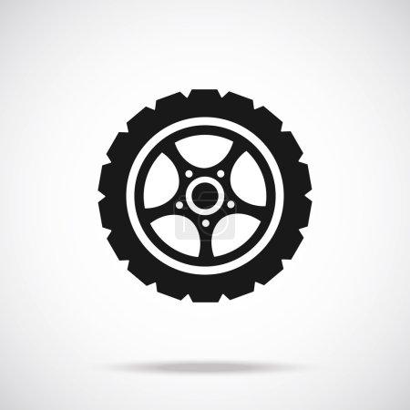 Tire icon. Black vector icon.