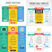 4 different pricing tables Creative graphic design Vector illustration