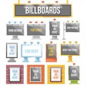 Trendy flat billboards outdoor advertising set