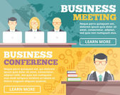 Business meeting and business conference flat illustration concepts set