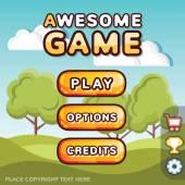 Main menu game interface kit Sunny hills scene
