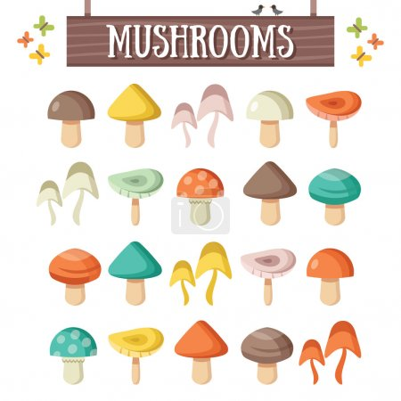 Trendy flat mushrooms set. Beautiful colorful mushrooms