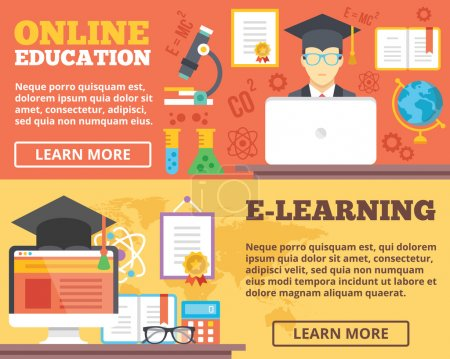 Illustration for Online education, e-learning flat illustration concepts set. Flat design concepts for web banners, web sites, printed materials, infographics. Creative vector illustration - Royalty Free Image
