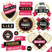 Premium quality stickers badges labels and ribbons Set 3