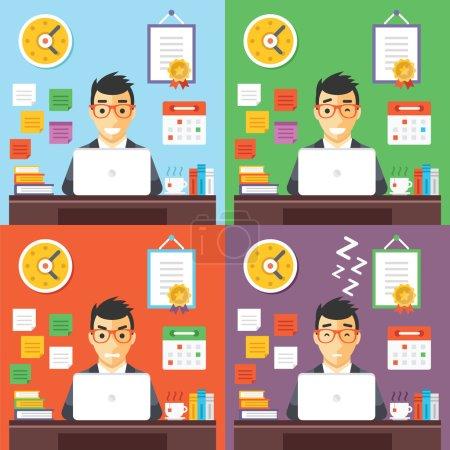 Businessman at work concept illustrations set