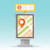Automatic terminal information service Stand with map and some useful information for citizens and tourists Flat style design Creative vector illustration