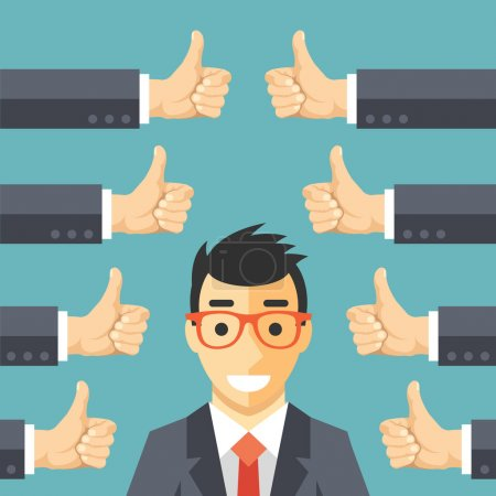 Illustration for Happy businessman and many hands with thumbs up. Likes and positive feedback concept. Creative vector illustration - Royalty Free Image