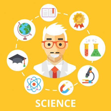 Science concept illustration. Scientist character and trendy flat icons set