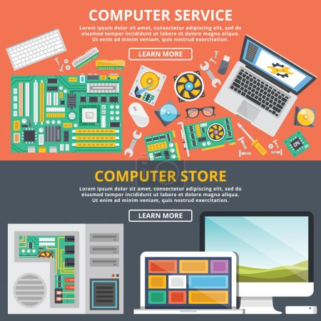 Illustration for Computer service, computer store flat illustration concepts set. Flat design concepts for web banners, web sites, printed materials, infographics. Creative vector illustration - Royalty Free Image