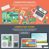 Computer service computer store flat illustration concepts set