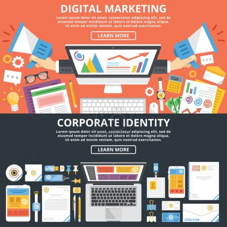 Illustration for Digital marketing, corporate identity flat illustration concepts set. Top view. Modern flat design concepts for web banners, web sites, printed materials, infographics. Creative vector illustration - Royalty Free Image