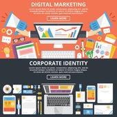 Digital marketing corporate identity flat illustration concepts set