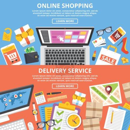Online shopping, delivery service flat illustrations set
