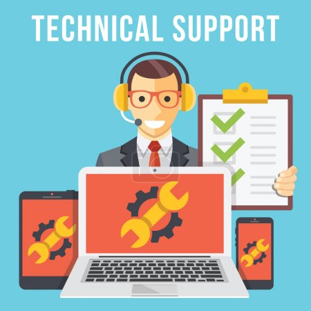 Illustration for Technical support flat illustration concept. Modern flat design concepts for web banners, web sites, printed materials, infographics. Creative vector illustration - Royalty Free Image