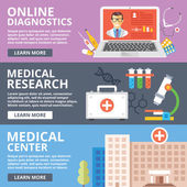 Online diagnostics medical research medical center flat illustration concepts set