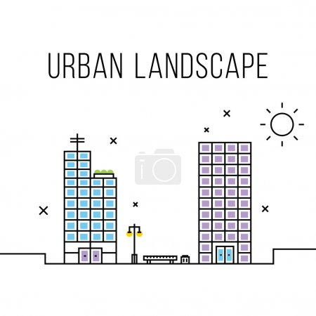 Urban landscape concept. Office buildings, business centers and bench