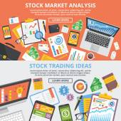 Stock market analytics stock trading ideas flat illustration concept set