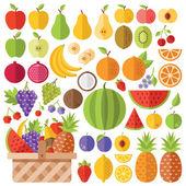 Flat fruits icons set Creative vector flat icons