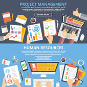 Project management human resources flat illustration concepts set Top view