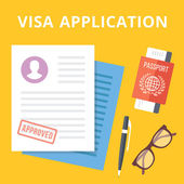 Visa application flat illustration concept Top view