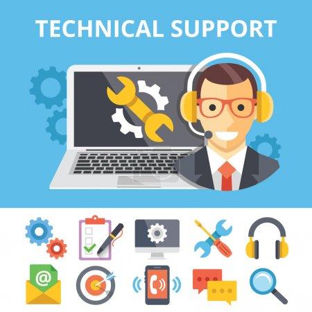 Ilustración de Ilustración plana soporte técnico y soporte plano técnico iconos conjunto. Conceptos gráfico moderno flat diseño web banners, sitios web, impresión, infografía. Ilustraciones de vectores creativos - Imagen libre de derechos