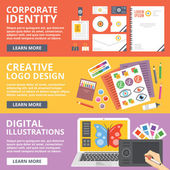 Corporate identity logo design digital illustrations flat illustration