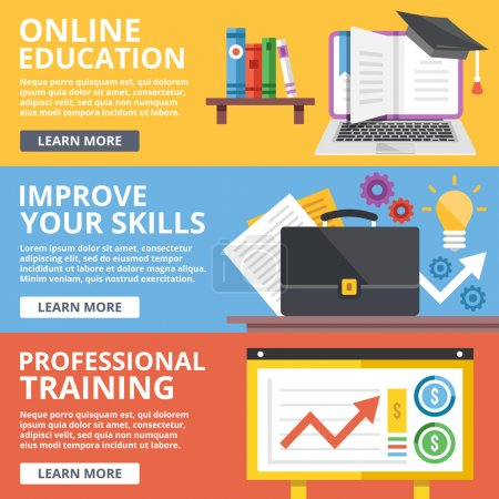 Online education, skills improvement, professional training flat illustration concepts set
