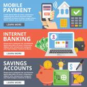 Mobile payment internet banking business savings accounts flat illustration concepts set