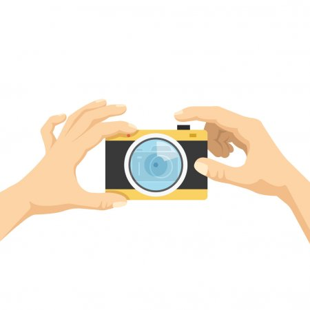 Hands hold camera and taking photo, selfie flat illustration concept
