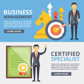 Business management certified specialist flat illustration concepts set