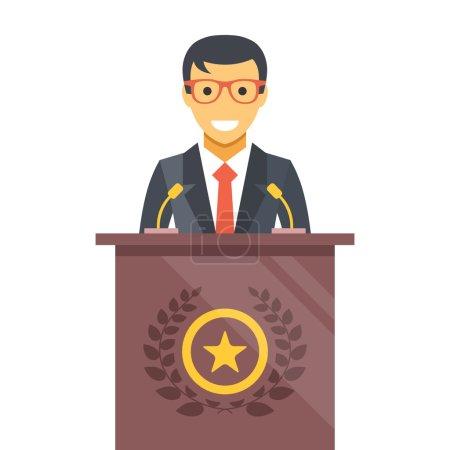 Speaker at podium. Man in suit standing at rostrum. Vector flat illustration