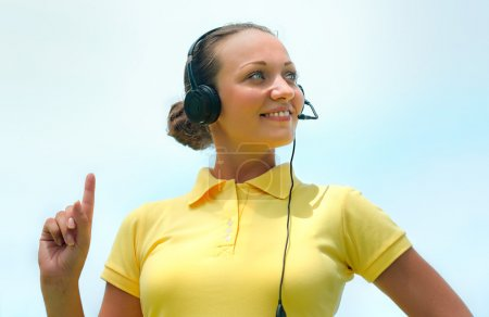 Beautiful call centre operator or client services smiles trying