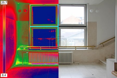 Thermal and real Image of Radiator Heater and a window on a buil