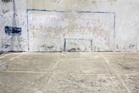 Photo for Soccer goal drawn on a wall on concrete playground in Corniglia, Italy - Royalty Free Image