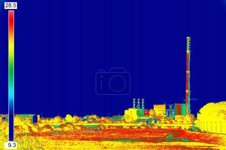 Infrared image Chimney of energy station