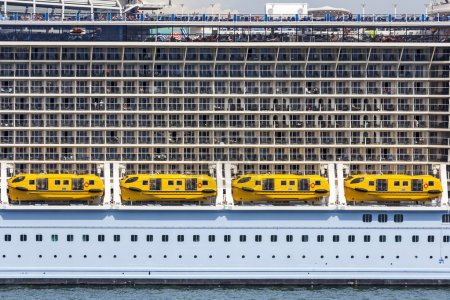 Cabins on a large cruise ship...